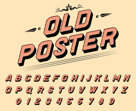 Pop art font for posters. Comic retro game alphabet. Vintage old Futuristic 80 s typeface, editable and layered. Vector modern chrome letters in disco style for banners. Archivio Fotografico - 128029317