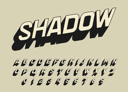 Vintage Pop art font for posters. Comic retro game alphabet. Futuristic 80 s typeface, editable and layered. Vector modern chrome letters in shadow style for banners.