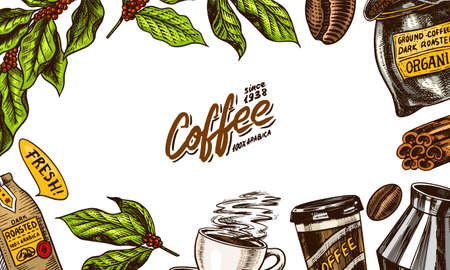 Coffee background in vintage style. Hand drawn engraved poster, retro doodle sketch. Leaves and cup, bag and calligraphic inscription. Vector Template Banner. Ilustração