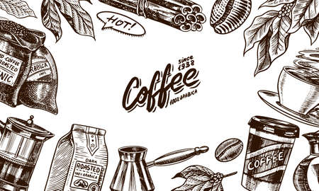 Coffee beans background in vintage style. Hand drawn engraved poster, retro doodle sketch. Cup and calligraphic inscription on dark background. Vector Template Banner