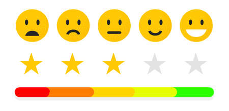 Feedback or quality control. Rating mood with smiles, emoji or smile face. User review of service. Vector icons positive, neutral and sad. Stock Vector - 129187257