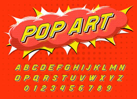 Pop art font for posters. Comic retro game alphabet. Vintage Futuristic 80 s typeface, editable and layered. Vector modern chrome letters in disco style for banners. Çizim