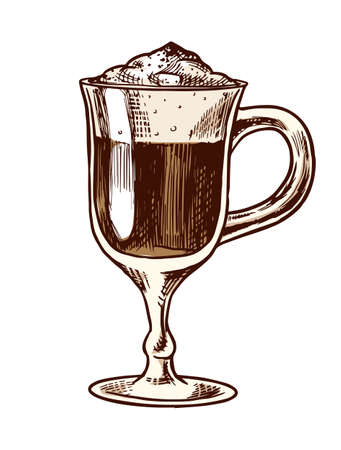 A cup of coffee latte in vintage style. Hand drawn engraved retro sketch for labels. Hot drink. Cappuccino template for a label or menu. Stock Illustratie
