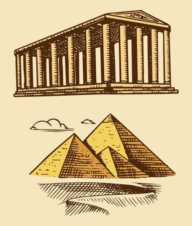 Great Pyramid of Giza and historical building with columns. Seven Wonders of the Ancient World. The great construction of the Greeks. Hand drawn engraved vintage sketch.