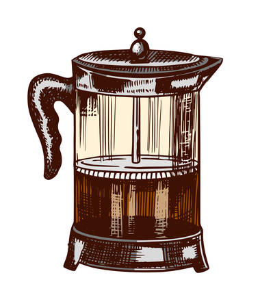 French press for making coffee in vintage style. Hand drawn engraved retro sketch for labels. Brewing cappuccino or espresso, template for a label or menu.