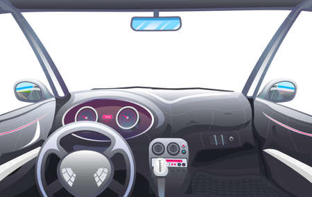 Vehicle salon, Driver view. Dashboard control in a smart car. Virtual control or auto piloted simulation. Autonomous Electric Automobile. Vector illustration.