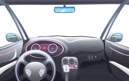 Vehicle salon, Driver view. Dashboard control in a smart car. Virtual control or auto piloted simulation. Autonomous Electric Automobile. Vector illustration.