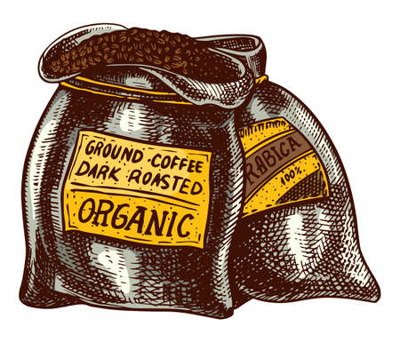 Bag of coffee beans in vintage style. Hand drawn engraved retro sketch. Organic natural plant, template for a label or menu.
