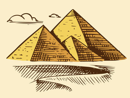 Great Pyramid of Giza. Seven Wonders of the Ancient World. The great construction of the Greeks. Hand drawn engraved vintage sketch.