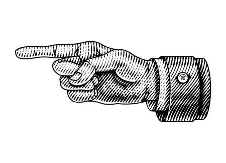 Pointing male hand. Engraved Forefinger directs. Sketch in vintage retro style. Close up arm gesture in monochrome style. Business concept for web site or label. Illustration