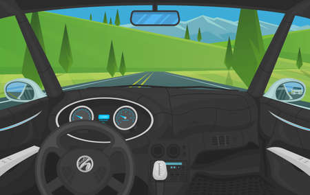 Vehicle salon, Driver view. Dashboard control in a smart car. Virtual control or auto piloted simulation. Traffic on a landscape road. Background for the interface. Autonomous Electric Automobile. Illustration