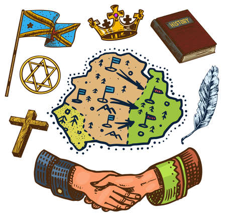 The concept of history on earth. Education, religion and old ancient symbols. Handshake Map Book Flag Crown. Hand drawn engraved vintage sketch.