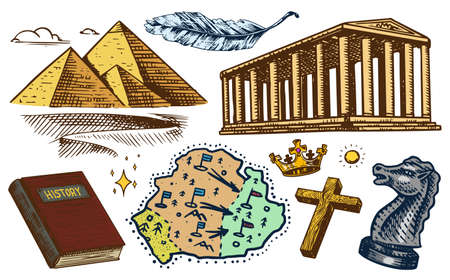 The concept of history on earth. Education, religion and old ancient symbols. Egyptian pyramids and ancient building with columns, Map Book. Hand drawn engraved vintage sketch. Illustration