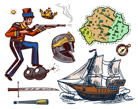 The history of the war in vintage style. Military man with a bomb and a gun. Sailboat in the sea. Knights helmet, Map, Crown and Sword. Hand drawn engraved sketch in vintage style.