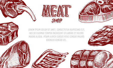 Grilled meat poster, Pork or beef steak. Barbecue BBQ banner. Food in vintage style. Background for restaurant menu, emblems or badges. Hand drawn sketch