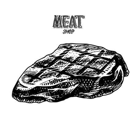 Grilled meat steak, BBQ Pork or beef Barbecue. Food in vintage style. Template for restaurant menu, emblems or badges. Hand drawn sketch