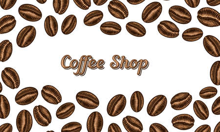 Coffee beans background in vintage style. Hand drawn engraved poster, retro doodle sketch and calligraphic inscription. Vector Template Banner