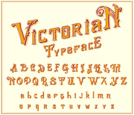 Victorian Font in ancient style. Antique old alphabet for Whiskey label. Vintage typeface in gold colors, editable and layered. Hand drawn Vector modern letters.