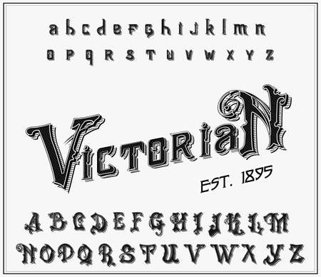 Victorian alphabet in ancient style. Antique old Font. Vintage typeface in black colors, editable and layered. Hand drawn Vector modern letters. Çizim