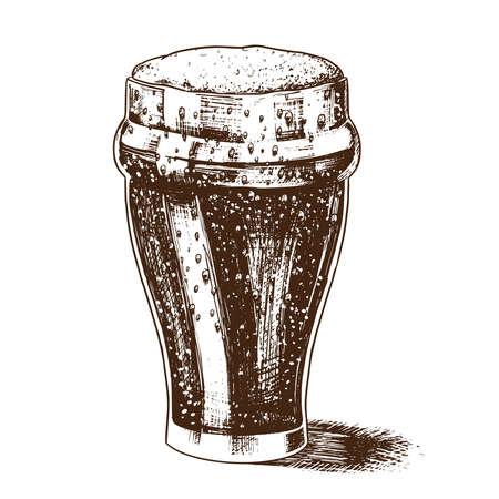Un vaso de cerveza con espuma. Bebida alcohólica bávara en estilo retro vintage. Boceto dibujado a mano para un menú de barra, rayas en una camiseta o etiquetas.