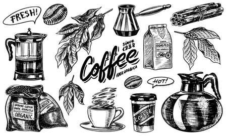 Café dans un style vintage. Un sac de céréales, des feuilles de cacao, des bâtons de cannelle, une tasse et une théière, une cafetière et un sac de lait, inscription calligraphique. Croquis rétro gravé à la main pour les étiquettes.