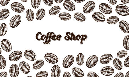 Coffee beans background in vintage style. Hand drawn engraved poster, retro doodle sketch and calligraphic inscription. Vector Template Banner.