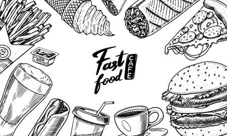 Fast food background. Banner template in vintage style. Burger and hamburger, tacos and hot dog, burrito and beer, drink and ice cream. Sketch card for restaurant menu. Hand drawn retro Poster. 일러스트