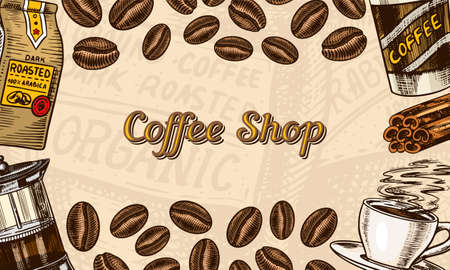 Coffee beans background in vintage style. Hand drawn engraved poster, retro doodle sketch. Cup and calligraphic inscription. Vector Template Banner.