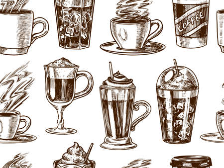 Cups of coffee background in vintage style. Seamless pattern. Take away Cappuccino and Glace, espresso and latte, mocha and Americano, frappe in a glass. Hand drawn engraved retro sketch.