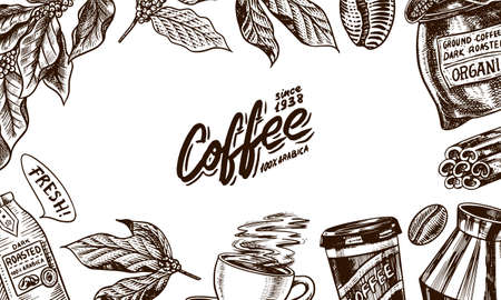 Coffee background in vintage style. Hand drawn engraved poster, retro doodle sketch. Leaves and cup, bag and calligraphic inscription. Vector Template Banner. Çizim