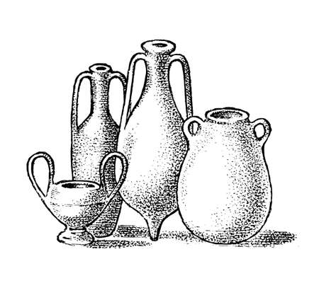 Pottery of ancient Greece. Greek clay pots or vases in vintage antique style. Hand drawn engraved vintage sketch for poster, banner or website Ilustração