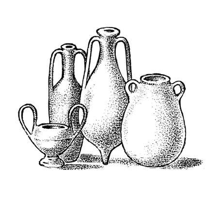 Pottery of ancient Greece. Greek clay pots or vases in vintage antique style. Hand drawn engraved vintage sketch for poster, banner or website Illustration