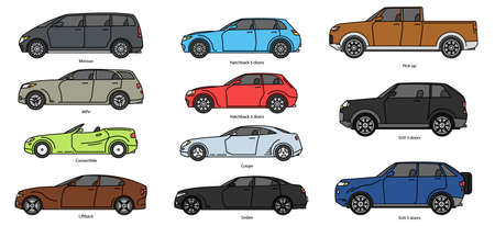 Car body style. Outline Public transport and Passenger Coupe. Outline Pickup, doodle Sedan, color Hatchback and Convertible SUV Minivan MPV. Three and five-door auto. Set of Monoline doodle icons.
