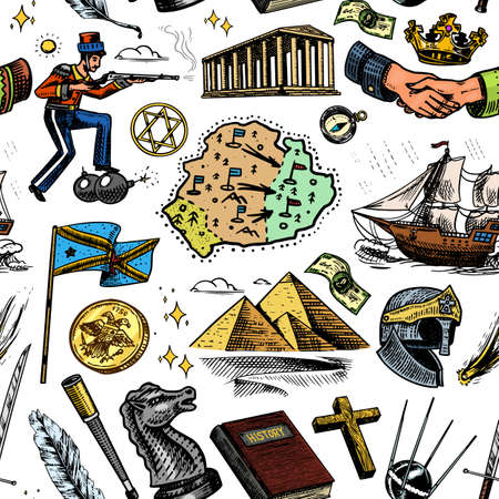 History seamless pattern in vintage style. Education, religion and old ancient symbols. School subject. Background for print or web site. Hand drawn engraved doodle sketch Illustration