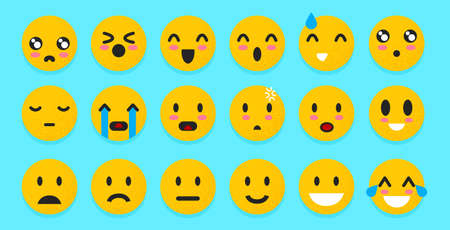 Set of yellow Emoticons. Isolated smile face. Emoji Mood on blue background . Vector illustration characters for applications and games. Happiness and joy, anger and cry Archivio Fotografico - 128414036