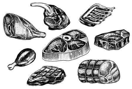 Beef meat, pork steak, chicken leg, meatloaf, bacon and ribs. Barbecue food in vintage style. Templates for restaurant menu, emblems or badges. Hand drawn sketch.