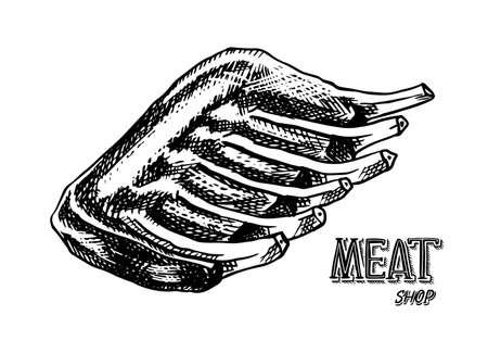Gegrild vlees, BBQ Varkensvlees of rundvleesribben. Barbecue eten in vintage stijl. Sjablonen voor restaurantmenu, emblemen of badges. Hand getrokken schets.