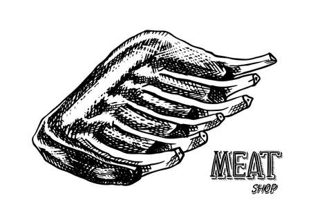 Grilled meat, BBQ Pork or beef ribs. Barbecue food in vintage style. Templates for restaurant menu, emblems or badges. Hand drawn sketch.