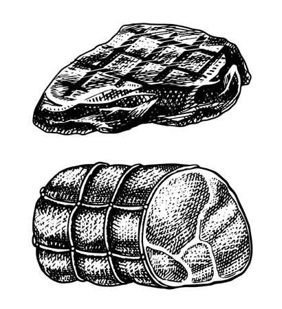 Grilled meat steak, BBQ Pork or beef Barbecue. Food in vintage style. Template for restaurant menu, emblems or badges. Hand drawn sketch. Ilustracja