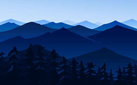 Dark blue mountains. Amazing Foggy layered landscape. Hiking and camping concept. Swiss or Austrian Alps, sunset and forest. Vector illustration Background for travel banner or poster. Illustration