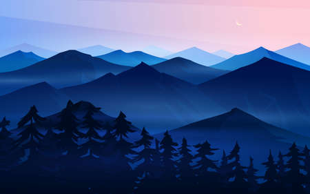 Dark blue mountains. Layered landscape and pastel sunset. Hiking and camping concept. Unbelievable Fog in the swiss valley and Austrian Alps and forest. Vector Background for travel banner or poster.