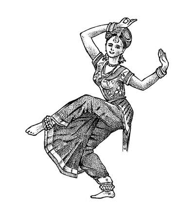 Dancing Indian woman in national dress. Hand drawn engraved in vintage sketch style. Ethnic culture.