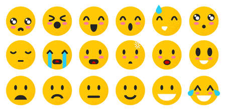 Set of yellow Emoticons. Isolated smile face. Emoji Mood on white background . Vector illustration characters for applications and games. Happiness and joy, anger and cry Çizim