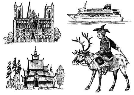 Norway culture. Set of national symbols. Norwegian Cathedral, wooden church, horseman in costume, ship for sea travel. Hand drawn engraved sketch in vintage style