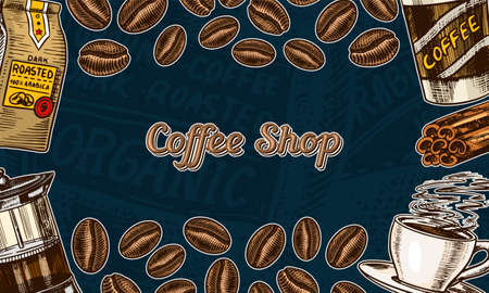 Coffee beans background in vintage style. Hand drawn engraved poster, retro doodle sketch. Cup and calligraphic inscription on dark background. Vector Template Banner.
