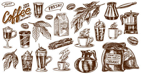 Coffee in vintage style. A bag of grain, cocoa leaves, cinnamon sticks, a cup and a teapot, a coffee maker and a bag of milk, calligraphic inscription. Hand drawn engraved retro sketch for labels. Çizim