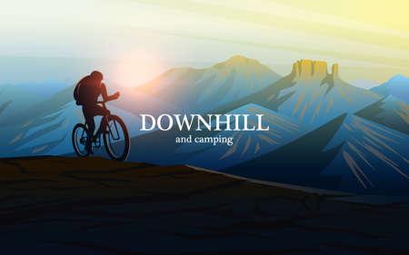 Descente à vélo. Coucher de soleil dans les montagnes. Paysage en couches brumeux. Silhouette d'un voyageur découvrant et explorant la vallée suisse et les Alpes autrichiennes. Fond de vecteur pour bannière et bannière. Vecteurs