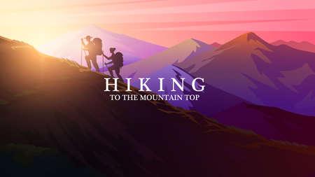 Randonnée en montée. Lever du soleil dans les montagnes. Paysage en couches brumeux. Silhouette de touristes grimpant au sommet des Alpes suisses ou autrichiennes. Concept de camping et coucher de soleil. Fond de vecteur pour la bannière. Vecteurs