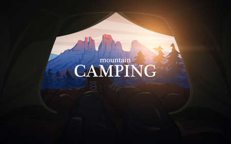 View from the tent to the mountains. Hiking and camping concept. Amazing Foggy landscape. Swiss or Austrian Alps. Background for travel banner or poster.