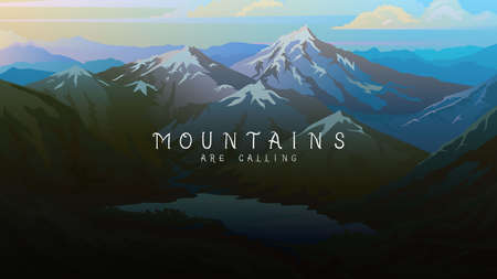 Layered mountains banner. Dark blue landscape and pastel sunset. Fog in the swiss valley and Austrian Alps and forest. Vector Background for travel poster.